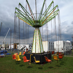At The Fair by Jackie Sleter - Artistic Objects Other Objects ( sky, chairs, colorful, swing )