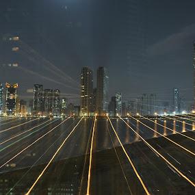 Sharjah, UAE skyline at night by Carmel Bation - City,  Street & Park  Skylines ( sky, uae, buildings, sea, city lights, travel, architecture, cityscape, travel photography,  )
