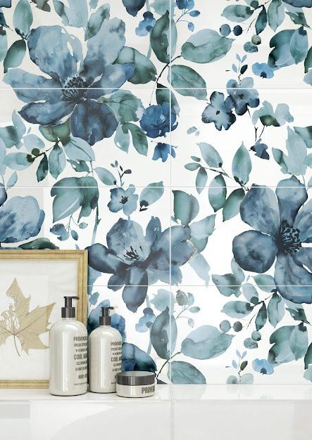 Ragno Frame - kék virágos fürdőszoba