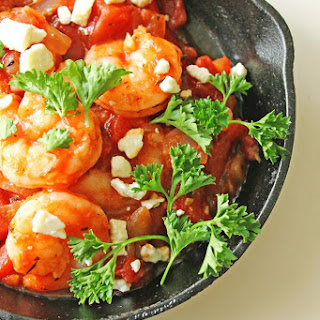 Shrimp In Garlicky Tomato Sauce With Feta