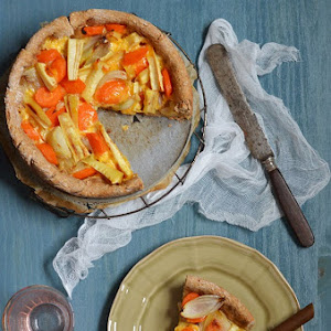 Carrot, Parsnip, and Honey-Roasted Onion Pie