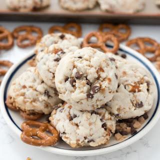 Pretzel Toffee Chocolate Chip Shortbread Cookies