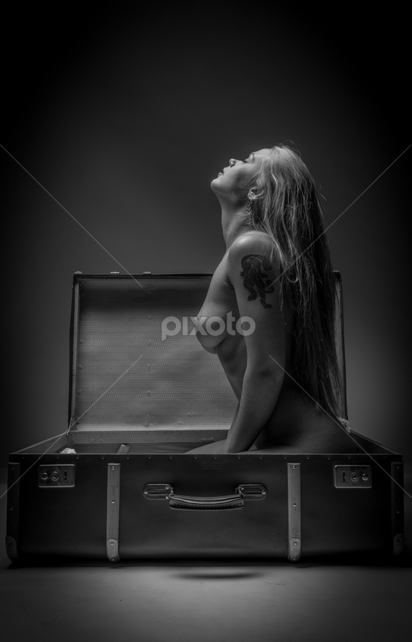 ouf of the suitcase by Reto Heiz - Nudes & Boudoir Artistic Nude ( sexy, nude, black and white, suitcase, nudeart, female model )