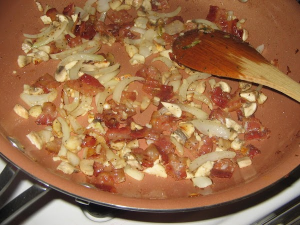... add the chopped bacon, onion, mushrooms, salt, pepper and sugar