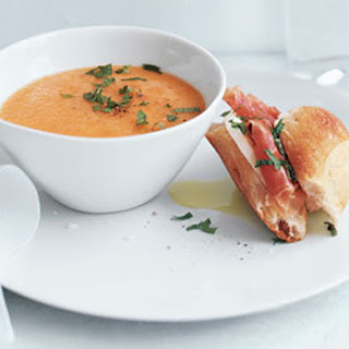 Cantaloupe Soup with Prosciutto-Mozzarella Sandwiches