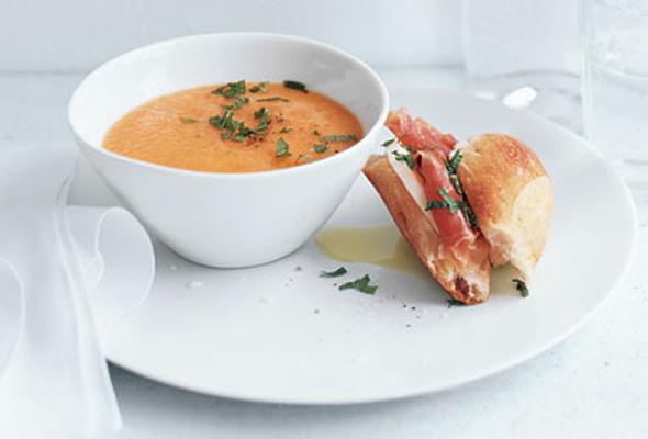 Cantaloupe Soup with Prosciutto-Mozzarella Sandwiches