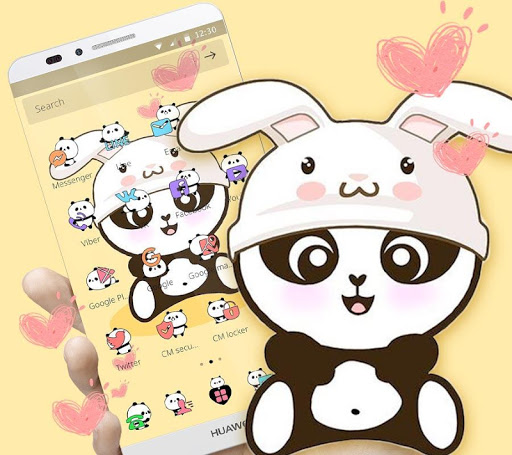 Yellow Cute Panda Bunny Theme 1.1.1 screenshots 2