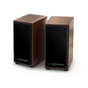 Boxe stereo conectare USB, fabricate din lemn, culoare cires