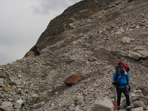 Photo: Day 6 - en route to Nandanvan, Amit making his way through the moraines...