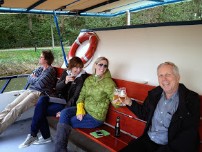 Photo: Beercation passengers enjoying some brews on the front deck of the Fiep