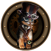 Steampunk Nostalgia Vintage Theme: Mechanical Cat