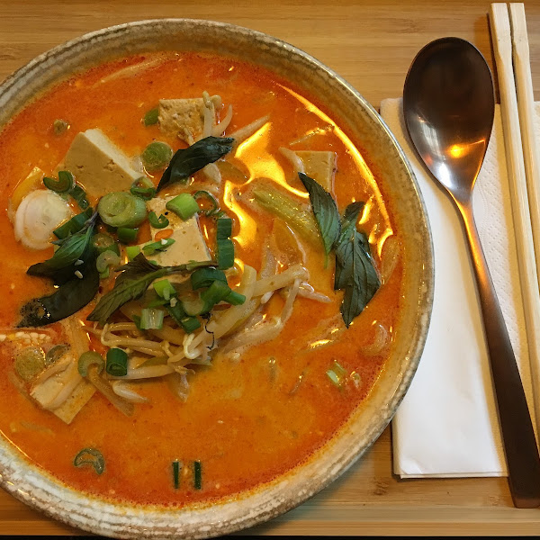 Gaeng Ped - Red Curry with bamboo sprouts, sweet basil and bell pepper