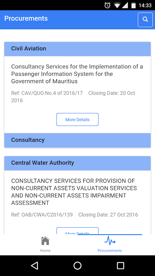 Mauritius Procurement Notices- screenshot