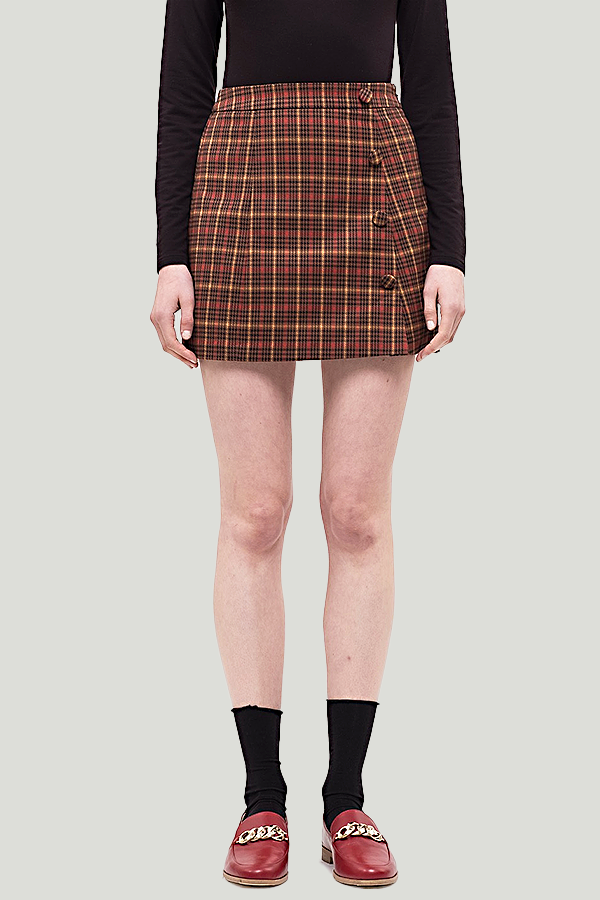 joa houndstooth plaid skirt