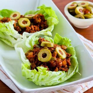 Low-Carb Turkey Picadillo Lettuce Wraps.