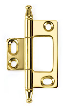 Photo: BH2A-NM-PB for non-mortised inset cabinet doors in Polished Brass finish