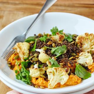Roasted Cauliflower Bowl with Lentils & Sweet Potato Hummus.