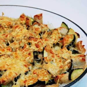 Coconut Curry Zucchini and Chicken and Rice Gratin