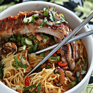 Chinese Noodles with Baked Sriracha Ribs.
