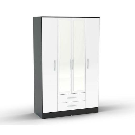 Birlea Lynx 3 Door 2 Drawer Robe Black & White