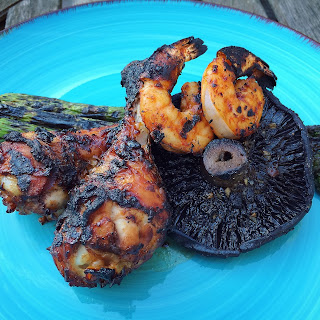 Chicken and Shrimp in XO Sauce Grilled with Mushrooms and Asparagus.
