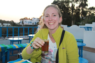 Photo: Arja about to try her first very sweet mint tea with pinenuts.