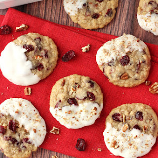 White Chocolate Dipped Cranberry Pecan Oatmeal Cookies.
