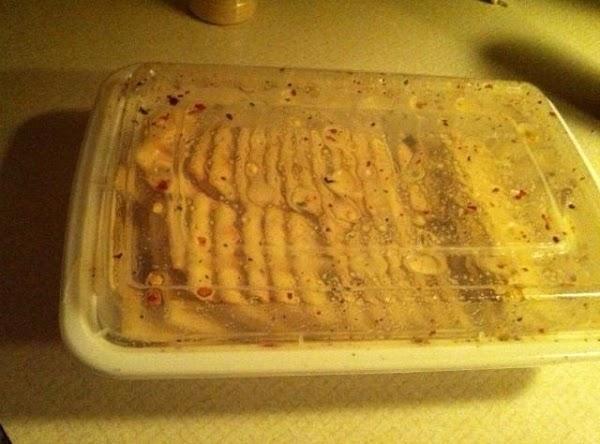 crackers marinating in seasoned oil