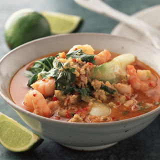 Spicy Shrimp and Crab Soup with Bok Choy.