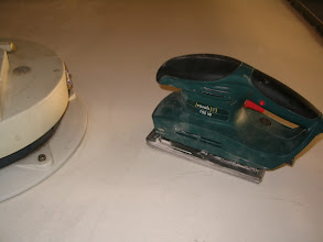 Photo: Voy a dar una fina capa de lijado. Utilizo un disco fino y le doy una pasada ligera.