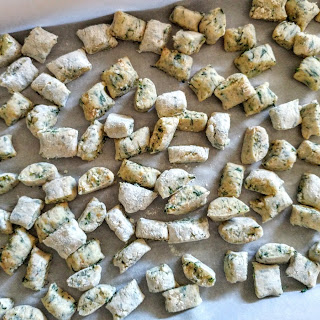 Baked Whole Wheat Spinach Gnocchi with Sun-Dried Tomato Pesto.