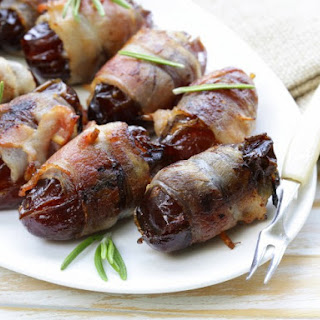Bacon Wrapped Almond Stuffed Dates.