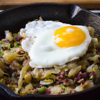 Corned Beef Hash with Shaved Brussels.
