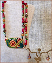 Photo: #180 FORCES OF NATURE/NEW LIFE ~ СИЛА ПРИРОДИ/НОВЕ ЖИТТЯ Copper enamel pendant, coral, malachite, shell, copper $160/set SOLD