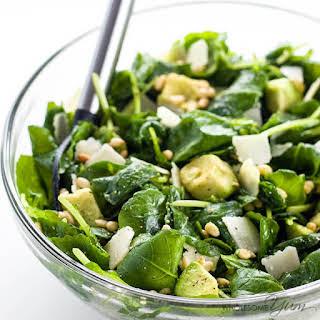 Baby Kale Avocado Salad with Lemon Garlic Vinaigrette & Parmesan (Low Carb, Gluten-free).