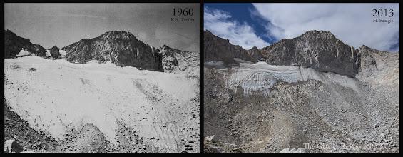 Photo: Conness Glacier Station: 555 Source: 1960 - National Park Service 2013 - The Glacier RePhoto Project