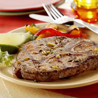Blade Steaks Marinated with Jalapeño Chiles & Cilantro.