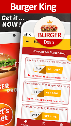 Screenshot for Food Coupons for Burger King  in United States Play Store