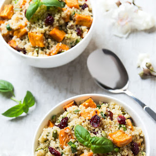 Sweet Potato Cranberry Quinoa Salad with Maple Dressing