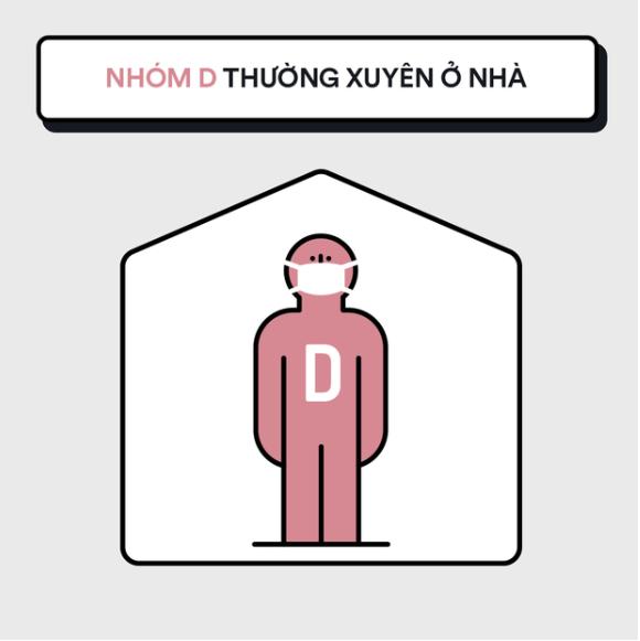 Nhóm D: Nhóm thường xuyên ở nhà.
