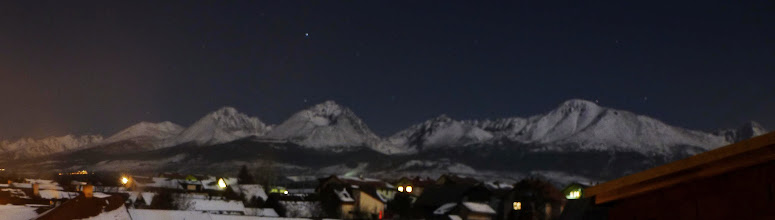 Photo: High Tatras in moonlight. One day after full moon, 30 seconds exposure.