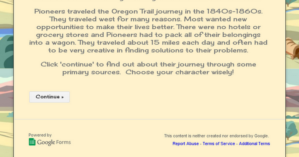 Let's Travel the Oregon Trail!