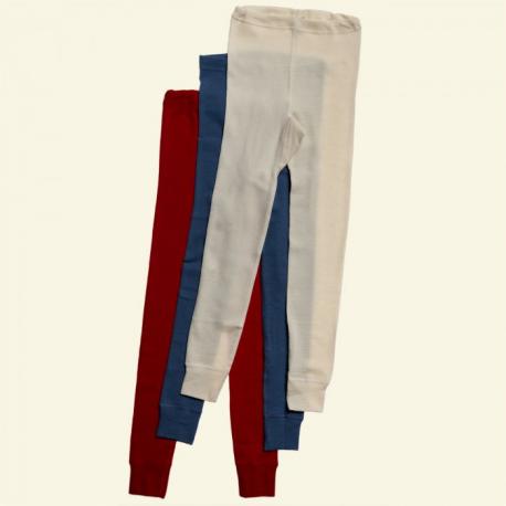 Ekologisk långkalsonger av merinoull i blå, röd
