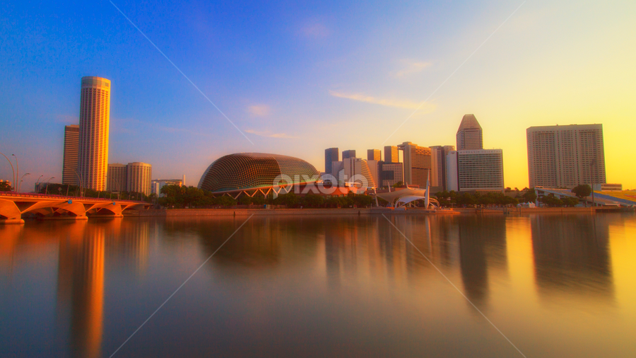 Sunrise at the Marina Bay by Rafael Uy - City,  Street & Park  Skylines ( sunrise, bridge, sg, esplanade, marina bay, singapore )