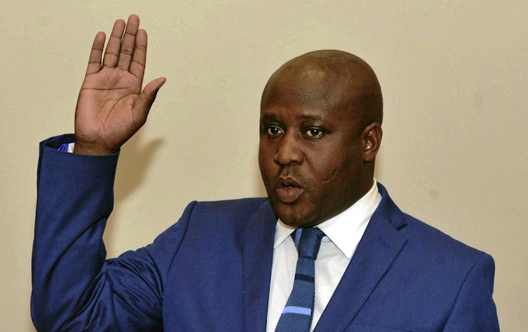 Bongani Bongo is sworn in as state security minister in October 2017, shortly after he allegedly offered a bribe to the evidence leader in the parliamentary public enterprises committee's inquiry into state-owned enterprisies, including Eskom.