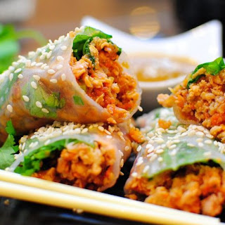 Hoisin Chicken Rice Paper Rolls.
