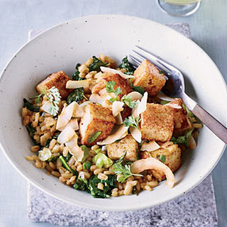 Five-Spice Tofu with Barley and Kale