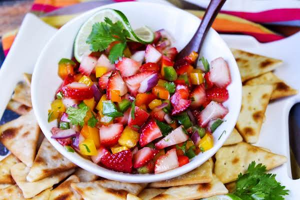 A Bowl Of Strawberry Salsa.