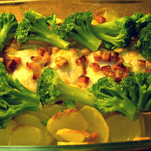 Baked Hake with cheese and bacon