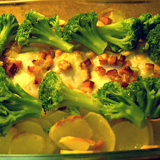 Baked Hake with cheese and bacon.